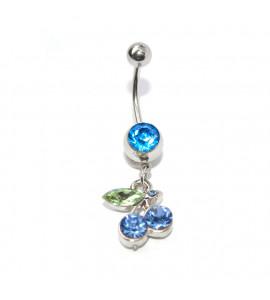 Cseresznye nemesacél piercing zöld-kék
