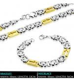 Arany és ezüst színű, bizánci stílusú nemesacél nyaklánc - karlánc szett