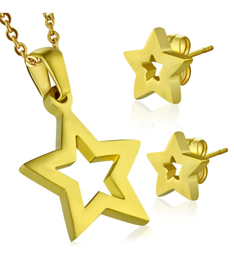 Arany színű, csillag alakú nemesacél medál és fülbevaló szett