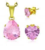 Arany színű nemesacél ékszerszett rózsaszín, csepp alakú cirkónia kővel - nyaklánc és fülbevaló