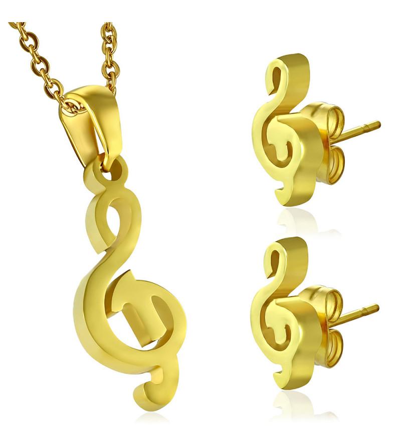 Arany színű nemesacél medál és fülbevaló szett, violinkulcs alakú
