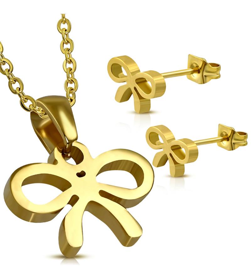 Arany színű nemesacél szett, masni alakú medállal és fülbevalóval