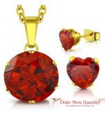 Arany színű nemesacél szett, nyaklánc, medál és fülbevaló, mély vörös cirkónia kristállyal