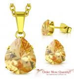 Arany színű nemesacél szett, nyaklánc, medál és fülbevaló, pezsgő színű cirkónia kristállyal