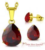 Arany színű nemesacél szett, nyaklánc, medál és fülbevaló, piros színű cirkónia kristállyal