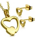Arany színű nemesacél szett, szív alakú medállal és fülbevalóval