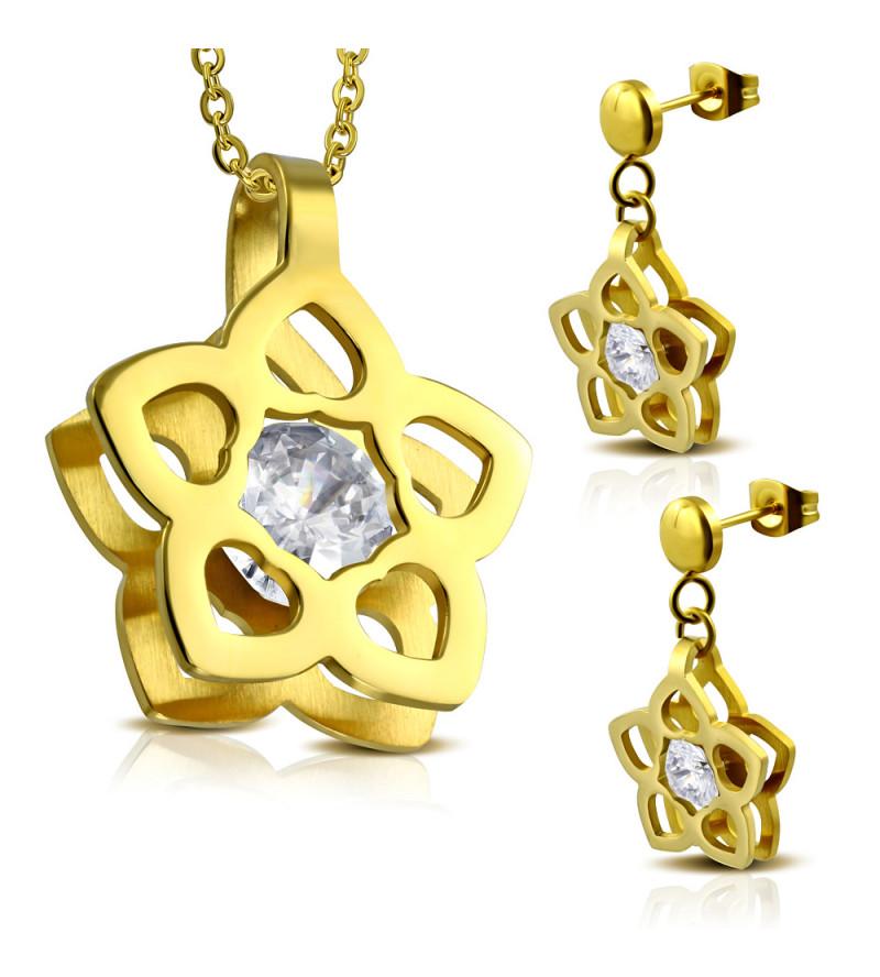 Arany színű nemesacél szett, virág alakú medállal és fülbevalóval, cirkónia kristállyal