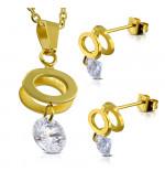 Arany színű, ovális medál és fülbevaló szett, cirkónia kristállyal