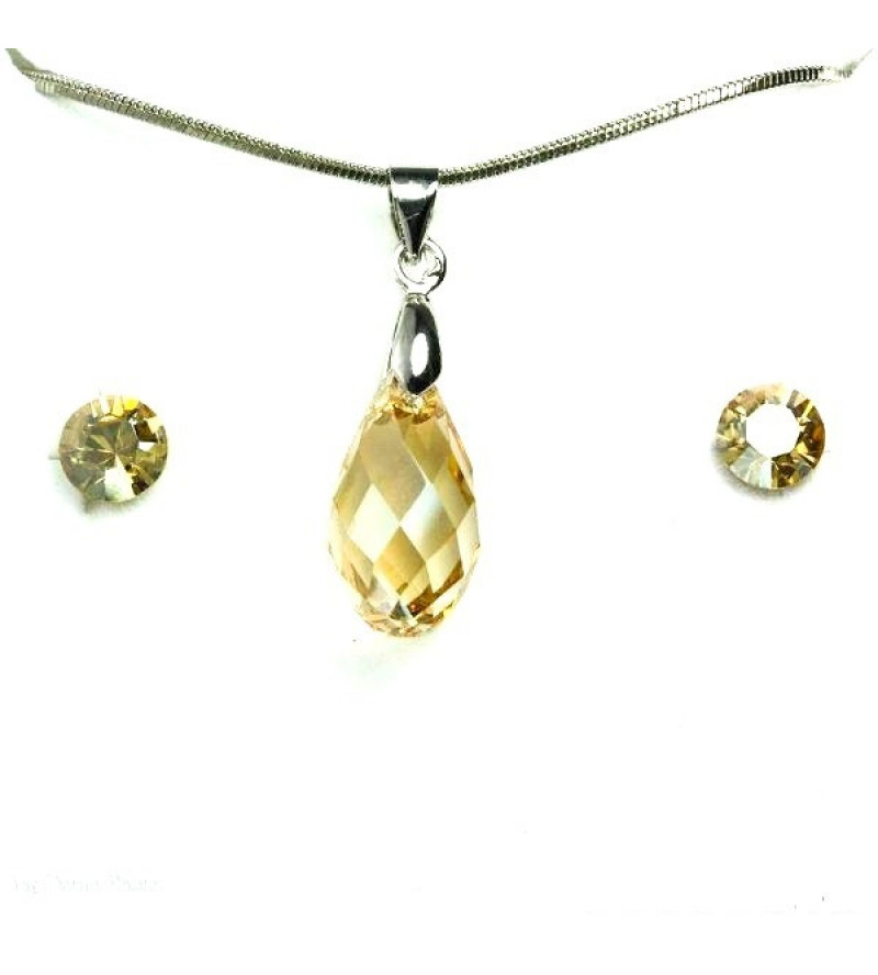 Aura arany színű Swarovski® kristályos ékszerszett - Briolette 17 mm, Golden Shadow + díszdoboz