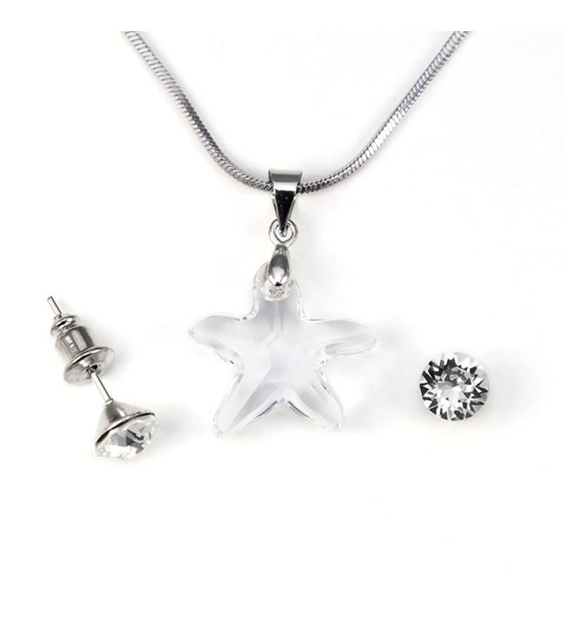 Aura átlátszó Swarovski® kristályos ékszerszett - Starfish 16 mm, Crystal + díszdoboz