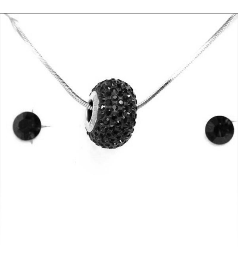 Aura fekete Swarovski® kristályos ékszerszett - Pavé Beads 14 mm, Jet Hematite + díszdoboz