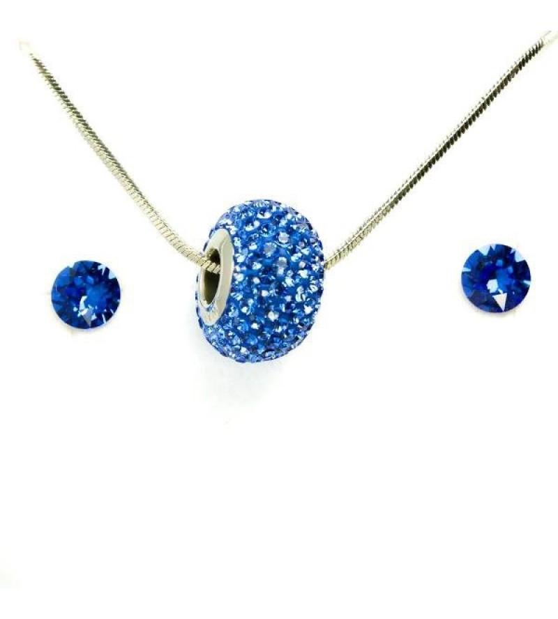 Aura kék Swarovski® kristályos ékszerszett - Pavé Beads 14 mm, Dark Blue + díszdoboz