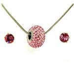 Aura rózsaszín Swarovski® kristályos ékszerszett - Pavé Beads 14 mm, Light Rose + díszdoboz