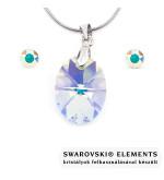 Aura színjátszó Swarovski kristályos ékszerszett - Oval 18 mm, Crystal AB + díszdoboz