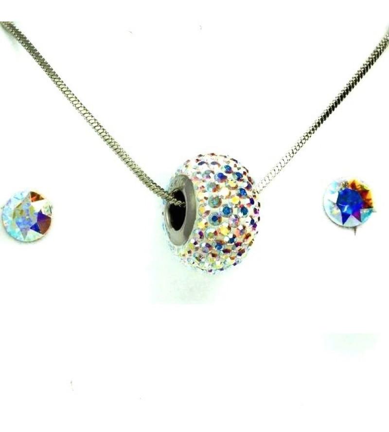 Aura színjátszó Swarovski® kristályos ékszerszett - Pavé Beads 14 mm, Crystal AB + díszdoboz