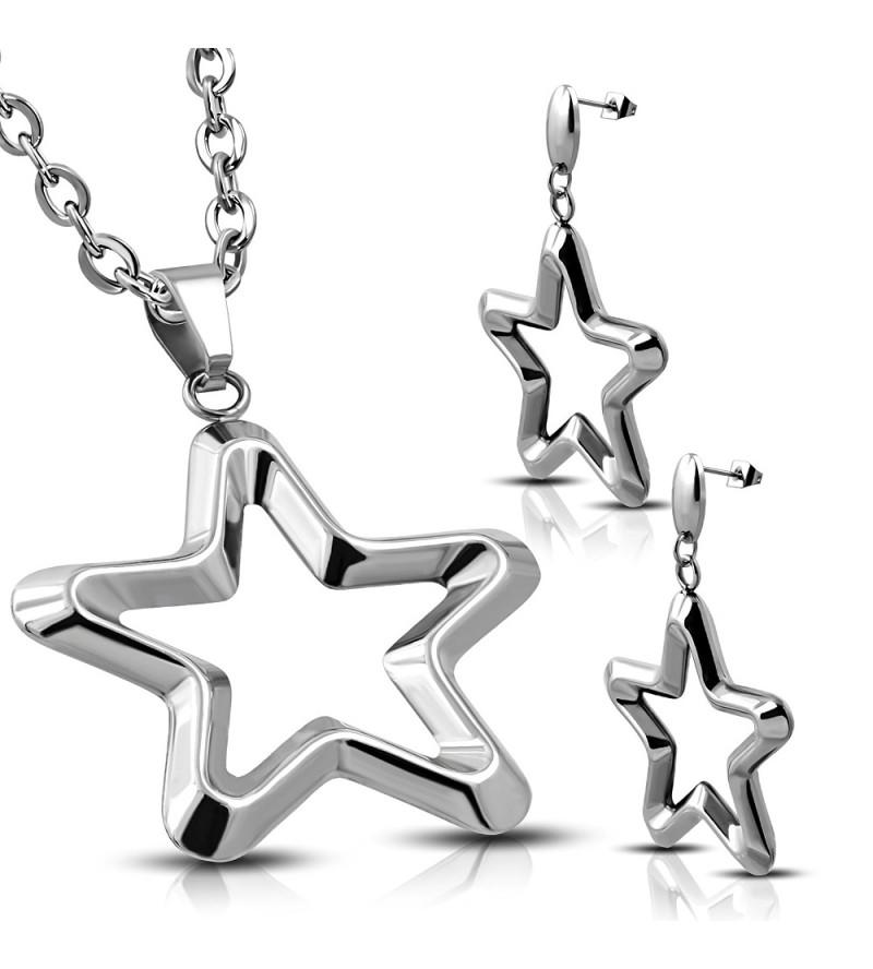Ezüst színű nemesacél szett, csillag alakú medállal és fülbevalóval