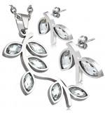 Ezüst színű nemesacél szett, fürt alakú medállal és fülbevalóval, cirkónia kristállyal