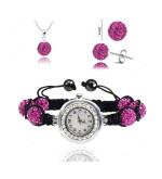 Karórás shamballa szett, pink karóra, nyaklánc és fülbevaló