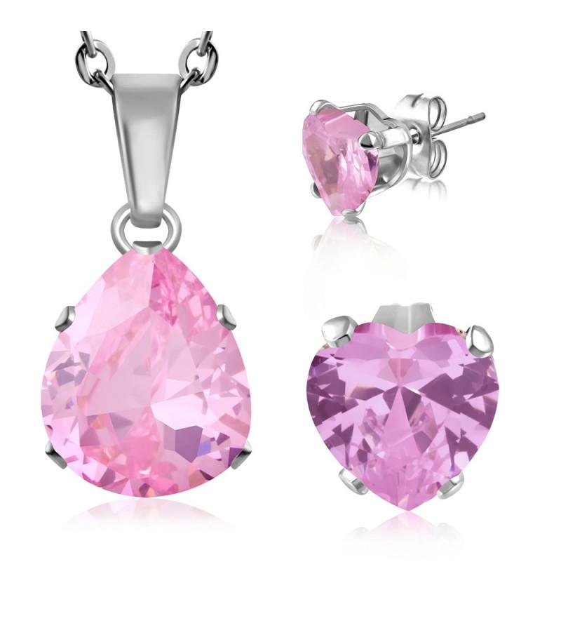 Nemesacél ékszerszett rózsaszín, csepp alakú cirkónia kristállyal - nyaklánc és fülbevaló