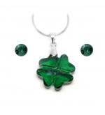 Swarovski® kristályos ékszerszett Cancer - Lóhere 19 mm, Emerald + díszdoboz